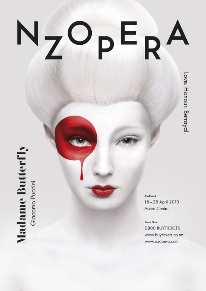 This advertising campaign looks elegant and classy by the use of white and little colour, simple layout. Appealing to a higher end, upper-class audience. The red representing japan dripping down to represent the sadness of the Opera, may also represent the blood of the tragic death of Madama Butterfly.