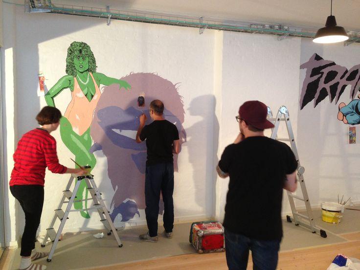 Kamp Horst, Making a wallpainting at Frame in Copenhagen!
