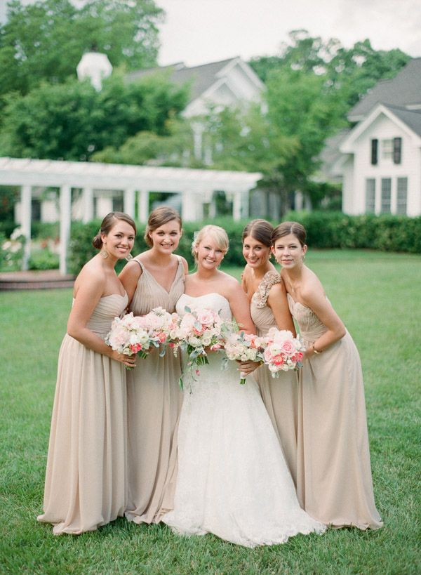 pretty tan bridesmaid dresses | Nancy Ray #wedding
