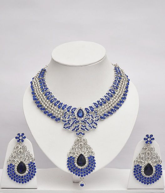 Blue & White Stones Studded Shining Jewelry Set : Online Shopping, - Shop for great products from India with discounts and offers, Indian Clothes and Jewelry Online Shop
