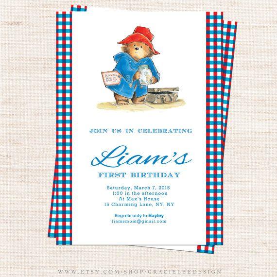 Paddington Bear Birthday Party Invitation by gracieleedesign