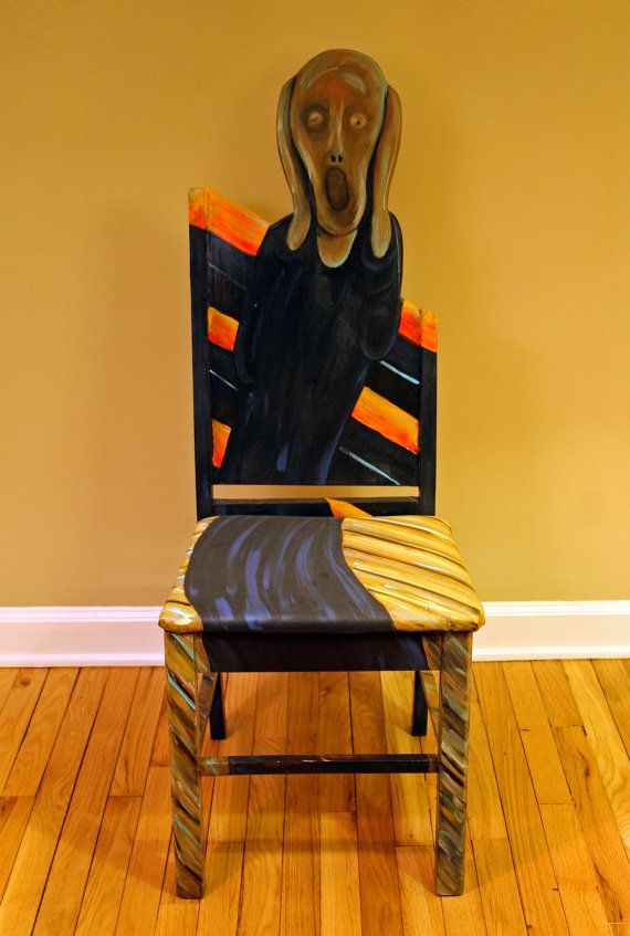 This upscaled painted chair pays tribute Munch's The Scream painting. The striking modern artwork is painted in vibrant blends of blue, orange, brown
