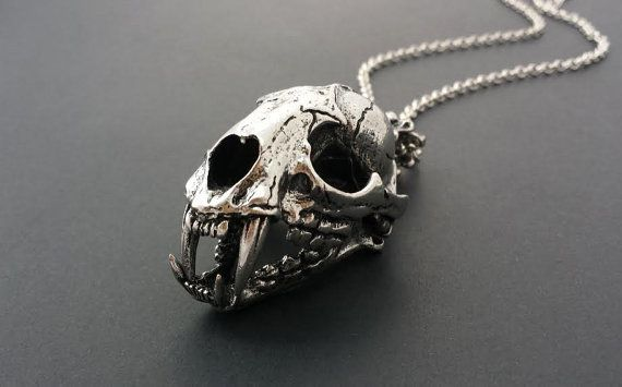 Large Cat Skull Necklace in Iron // Unisex by QueenofJackals, $30.00