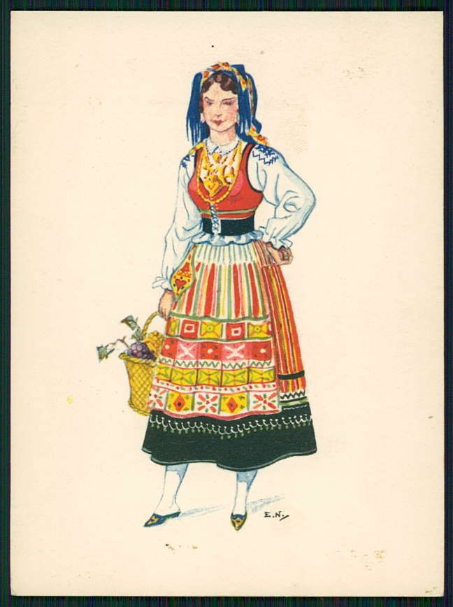 Art Emerico Nunes Ethnic Folk Dress Costume Minho Portugal 1950s Postcard | eBay