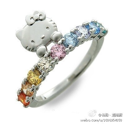 Hello Kitty Silver Ring With Multi-Colored Stones