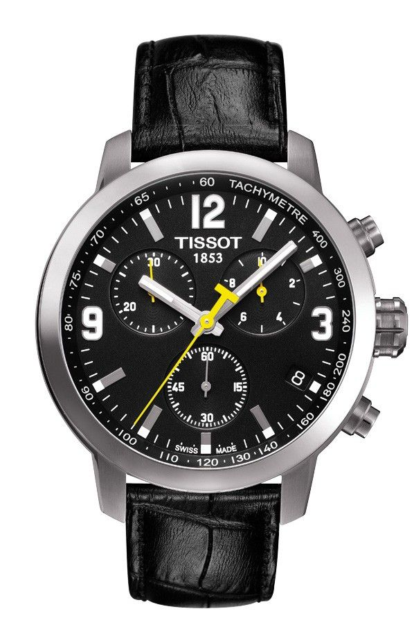 Tissot PRC 200 Men's Quartz Chrono Black Dial Watch with Black Leather Strap