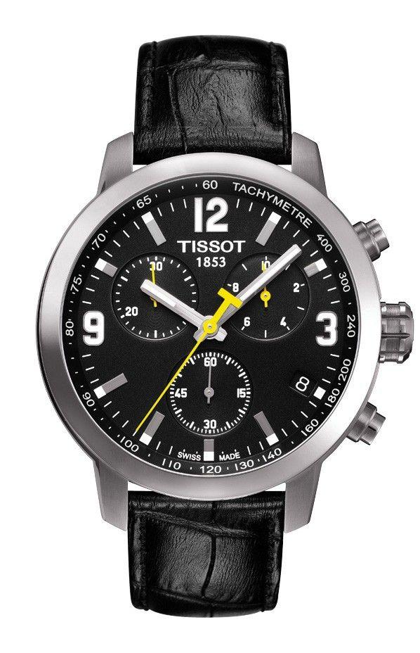 Tissot PRC 200 Men's Quartz Chrono Black Dial Watch with Black Leather Strap