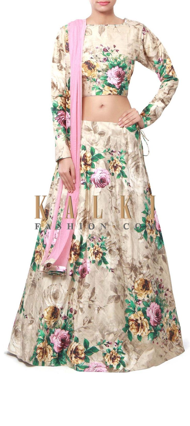 Buy Online from the link below. We ship worldwide (Free Shipping over US$100) Price-$429 Click Anywhere to Tag http://www.kalkifashion.com/beige-lehenga-features-in-floral-print-only-on-kalki.html