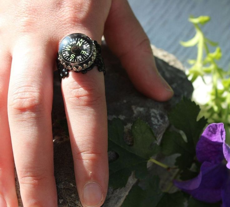 Compass Ring Crown Set Glow in the Dark N E S W Spring Sale Free Shipping #ArtistiqueJewelry