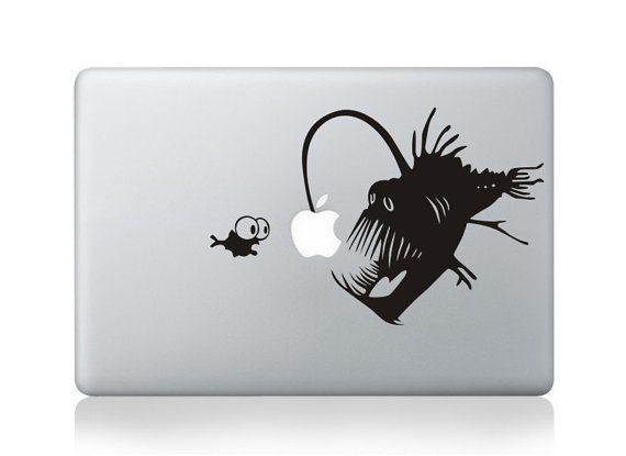 Cool big fish small fish laptop decal macbook apple cool stickers funny