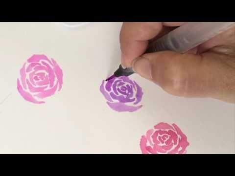 Flower Wreath Watercolor Painting _ 꽃리스 수채화 그리기 (에코라인 수채잉크 Ecoline Liquid Watercolor) - YouTube