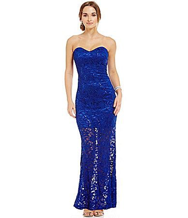 Jump Strapless Metallic Sequin Lace Gown #Dillards