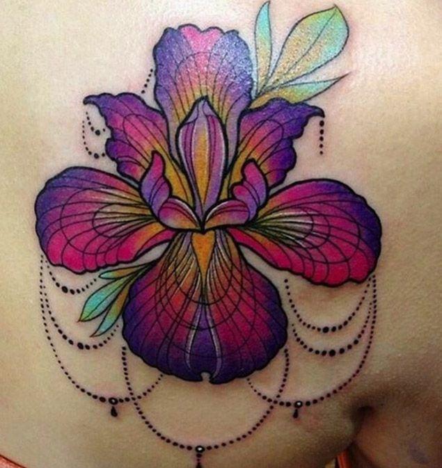 Watercolor Flower Tattoo by Jessica Lee Peltier