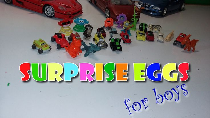 Surprise Eggs for boys!! Cars, Bicycles, Dinosaurs, Kung Fu Panda, Minio...