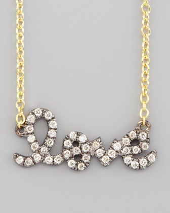 Two-Tone Diamond Love Necklace by Sydney Evan at Neiman Marcus.