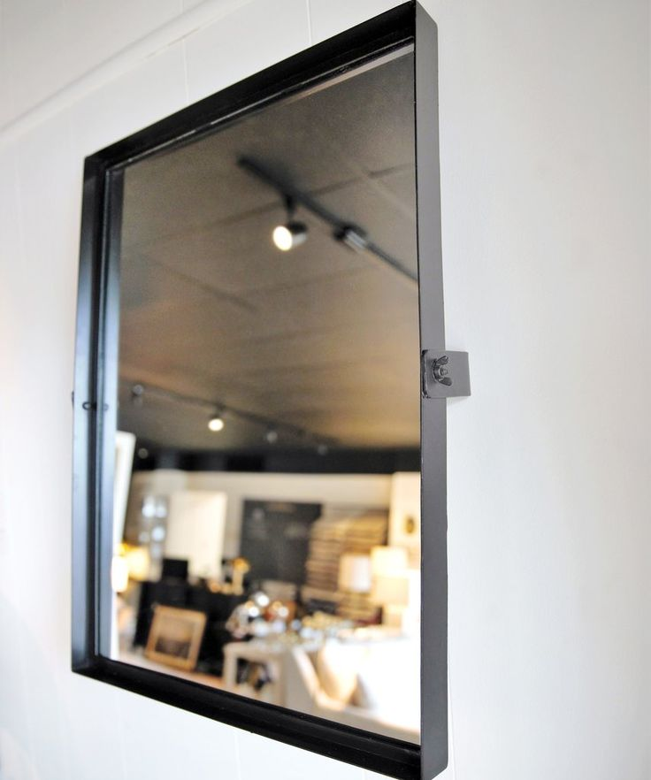 Rectangular Pivot Mirror Modern Black Iron Frame With