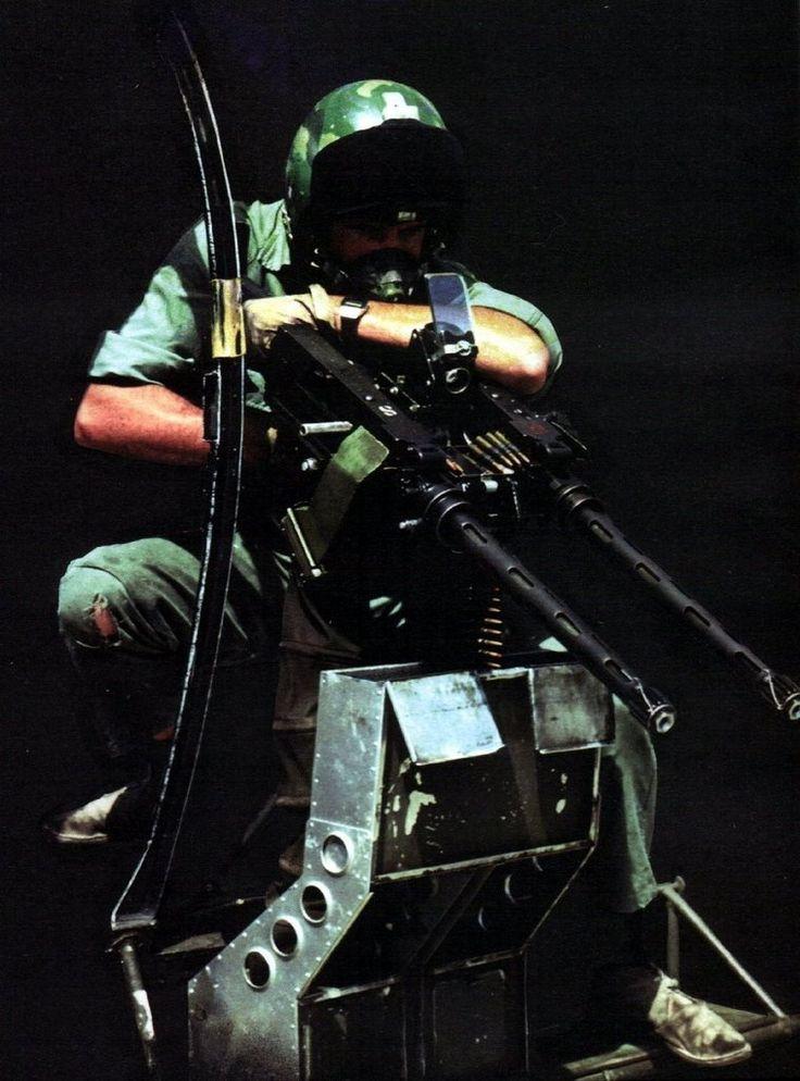 Rhodesian helicopter door gunner during the Bush war, 1970's.