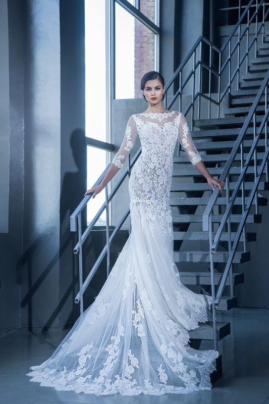 15091 в Красноярске, Платье в пол, Свадебное платье с рукавом, Свадебное платье с закрытым верхом, Пышное свадебное платье