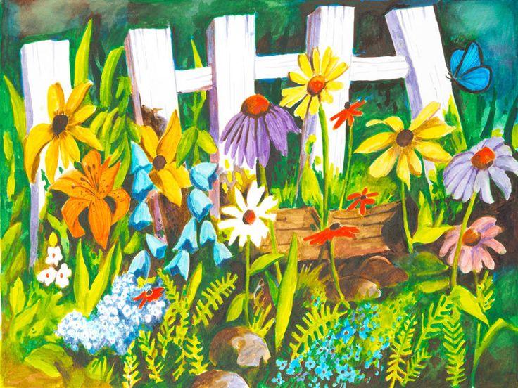 CANVAS Floral Boarders Fence Painting Art Gallery Wrap by Elizabeth Stacke #Modernism #buyartforless
