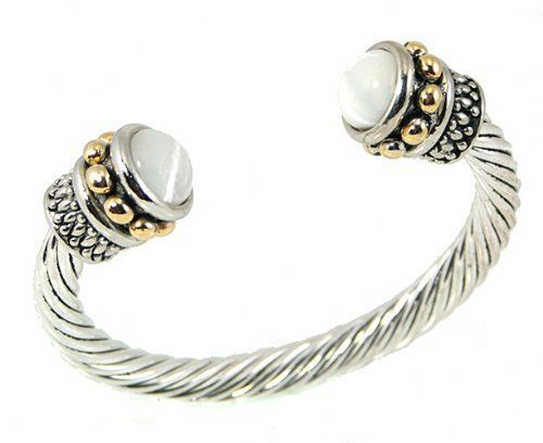 Silver Tone Designer Cabel Rope with White Crystal Ends BD Bangle & Bracelets. $29.95. Silver Tone Designer Cable Rope With White Crystal Ends. Save 70%!