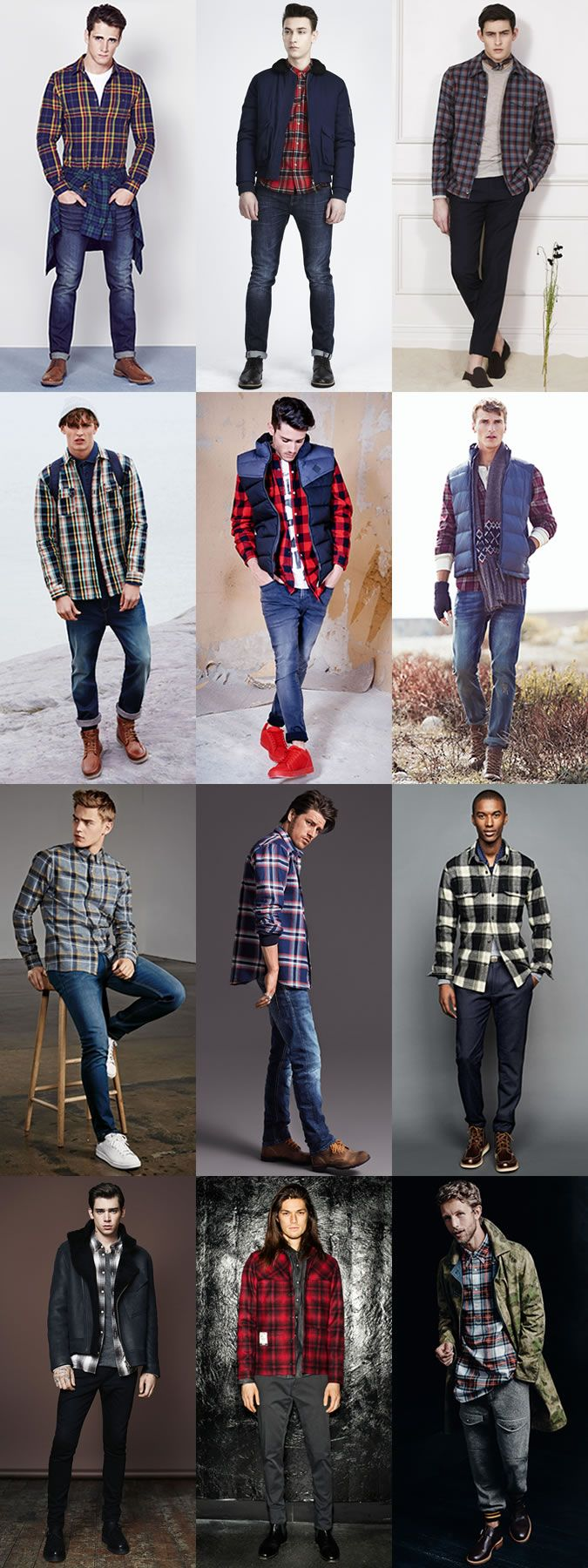 Men's Autumn Wardrobe Essentials: Flannel Shirt Autumn Outfit Inspiration Lookbook