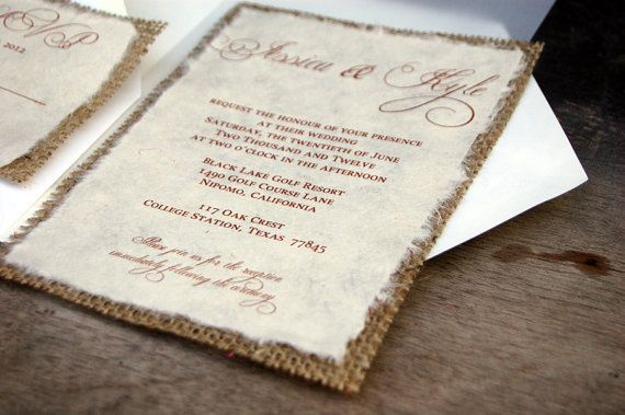 135 best wedding invitations images on pinterest bridal d i y simple rustic burlap wedding invitation rustic barn wedding solutioingenieria Image collections