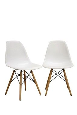 HauteLook | WI Mid-Century: White Accent Chairs - Set of 2