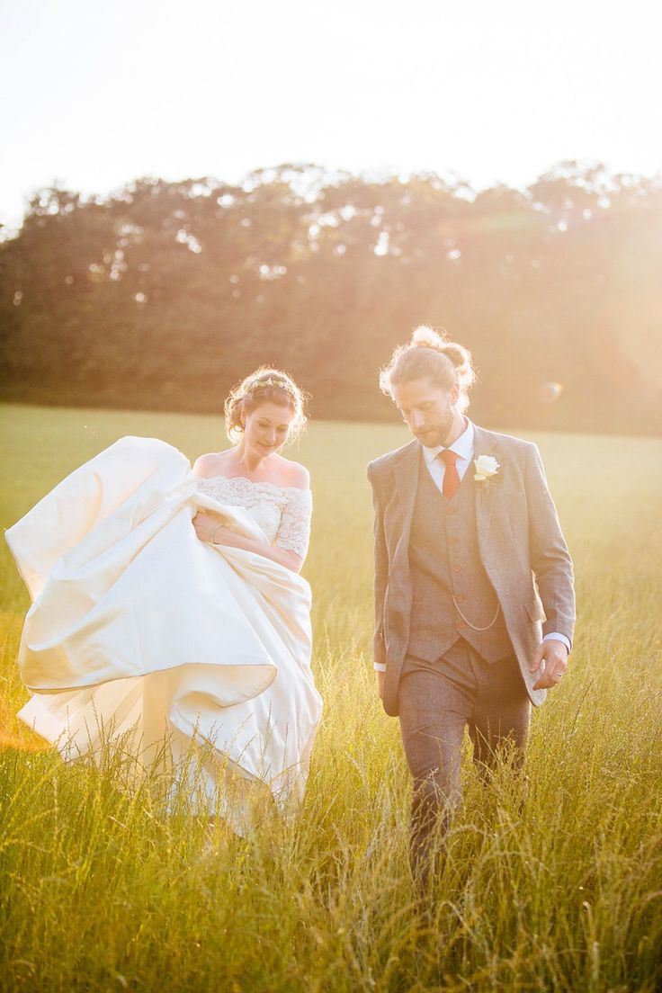 Bride wears an off the shoulder lace gown | Photography by http://www.sarahleggephotography.co.uk/