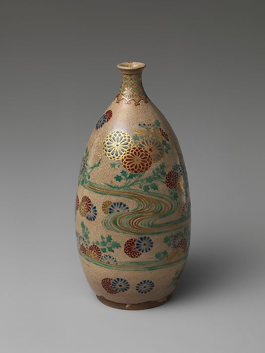 Sake Bottle Period: Edo period (1615–1868) Date: ca. 1750 Culture: Japan Medium: Clay covered with a crackled transparent glaze and colored enamels and gold (Awata ware)