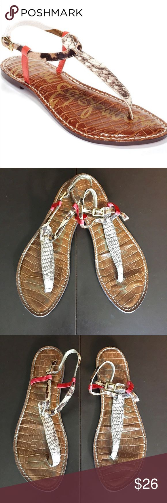 "Sam Edelman Gigi Sandal Variegated texturing puts a subtle exotic spin on a minimalist Thong sandal styled by an adjustable strap. Skin print and orange patent leather print. Measure 10.5""inches heel to toe. No damage or signs of wear to leather or soles Sam Edelman Shoes Sandals"