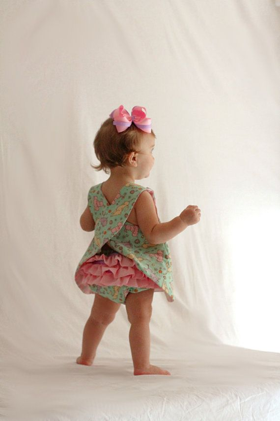 Baby Girl Easter Pinafore Dress and Ruffle Bloomer Set/ Newborn/ diaper cover/ Spring/ romper/ Sunday. $40.00, via Etsy.