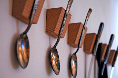 Spoons as clothes hooks