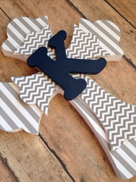 Girls Baptism Gift, Boys Communion Gift, Personalized Cross, Personalized Gift, gray chevron