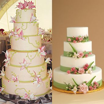 Brides: Boston Insider : Wedding Cakes Gallery   traditional bridal blooms adorn the tiers of this white cake (near left), while light green fondant bands keep the look fresh, not fussy. Cost per slice: $7.25, Sweet Alternatives, Watertown, 617-820-7670, sweet-alternatives.com.      Cake Shape: Round Or Oval  Color: Pink, White/Ivory, Green  Wedding Style: Classic, Glamorous  Type: Flowery