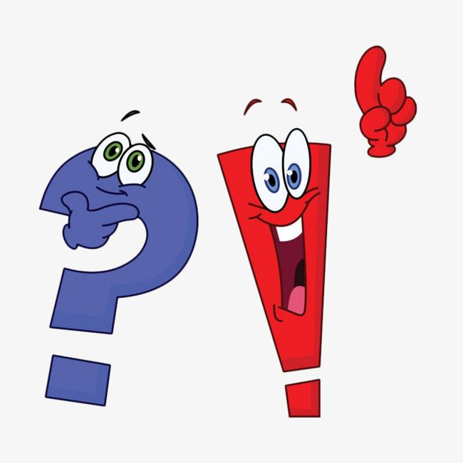 Cartoon question mark and exclamation mark expression PNG Image