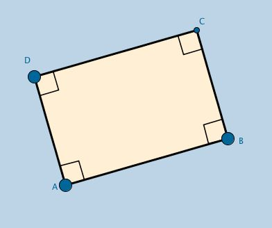 Applet contains a modifiable quadrilateral that always remains a rectangle. Its purpose is to serve as a basic template for students to use to discover properties unique to a rectangle.  Questions for student discovery are included.