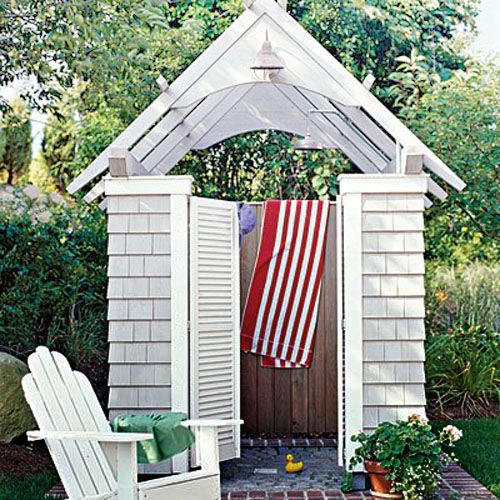 Showered with style...shingled outdoor shower...perfect for the beach house...Design Chic: Outdoor Showers
