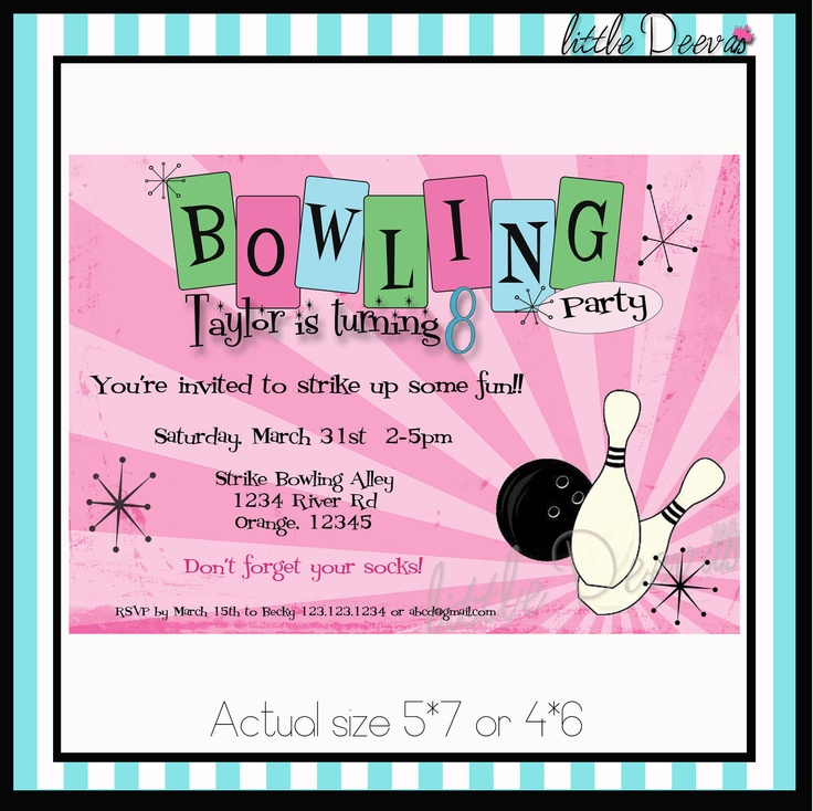 61 best TJ bowling party images on Pinterest Birthdays, Birthday - bowling invitation template