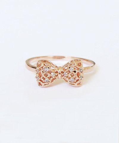 Girly Bow Rose Gold Ring // louun