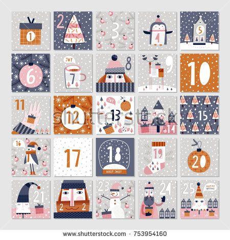 Advent calendar. Christmas poster.
