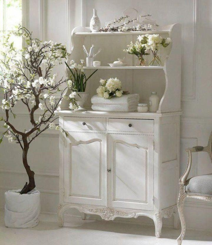 Pretty shabby chic white cabinet