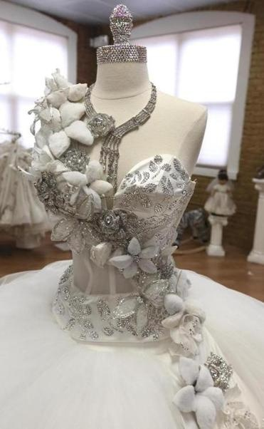 The bodice of the gypsy wedding dress (priced at $20,000), with Swarovski crystal pins and flat-back crystals.