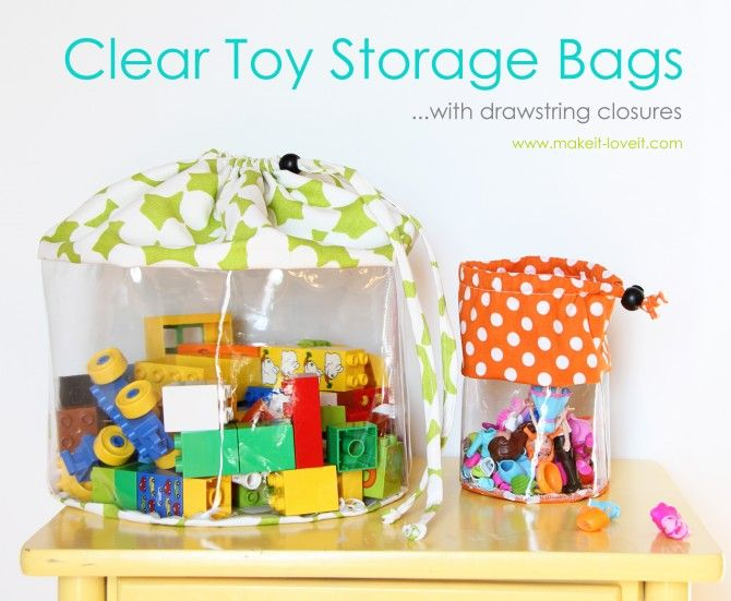 Really cute idea to store the kids toys in.: Clear Toys, For Kids, Clear Storage, Storage Bags, Toy Storage, Diy, Storage Ideas, Kids Toys, Toys Storage