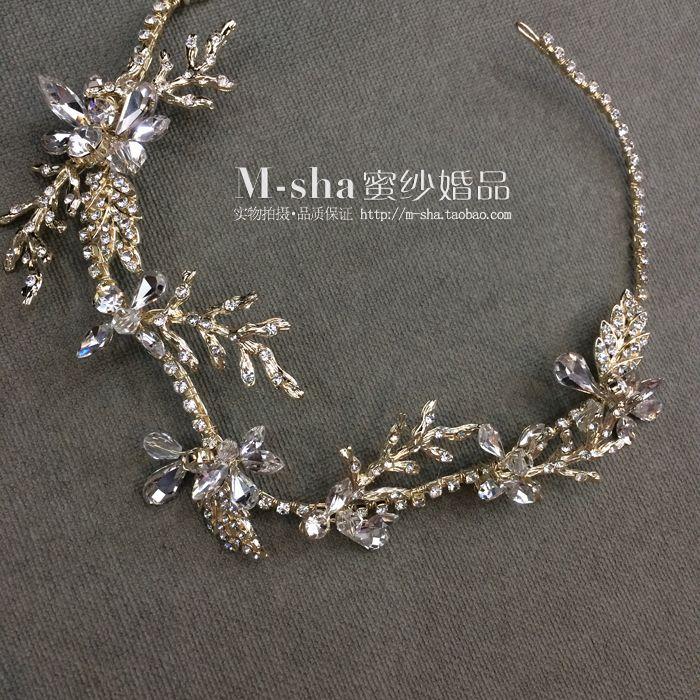 Энди Mina Europe Vintage Свадебные платья изысканный кристалл алмаза тиара мягкие цепи оставляет волосы группы ленты для волос украшения - Taobao