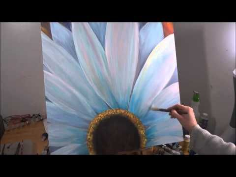 White Daisy Acrylic Speed Painting by Rhiannon - YouTube