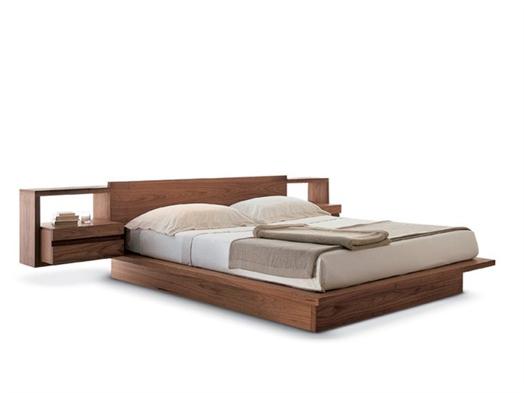 contemporary double bed with integrated bed side tables torino collection by riva 1920 design - Wooden Bedroom Design
