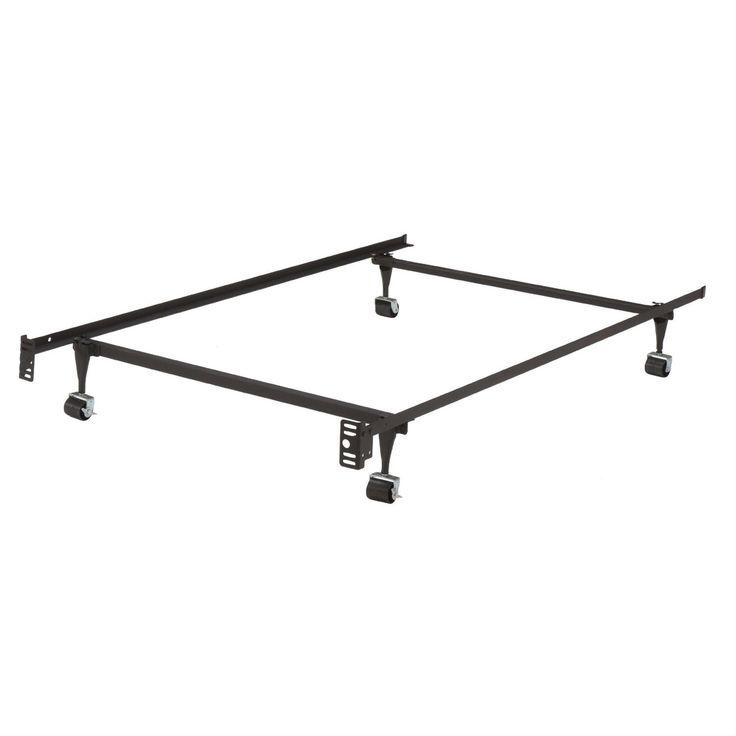 twin metal bed frame w locking rug roller wheels headboard brackets - Basic Bed Frame