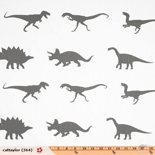 Dinosaur Twill Ash/Grey (Home Decor) 1 yard | Trade Me