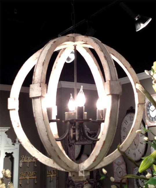 Antiqued White Distressed Cottage Wood Orb Chandelier