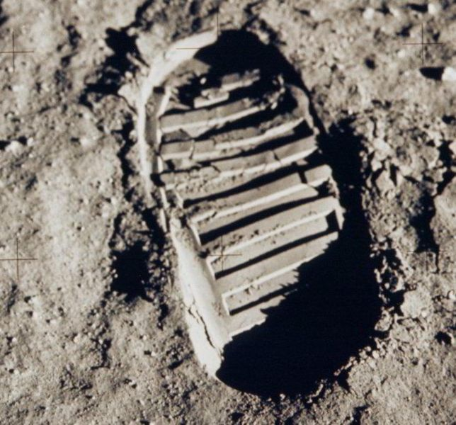 NASA photo taken on the moon is Buzz Aldrin's bootprint.